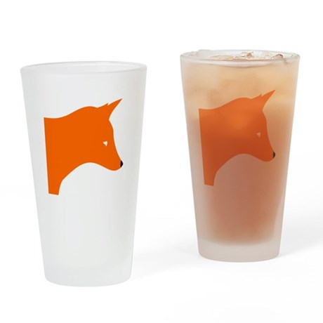 Orange Fox Drinking Glass
