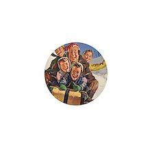 Vintage Christmas Family Sledding Mini Button