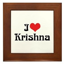 I Love Krishna Framed Tile