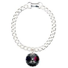 Cool Kitty Cat in Glasse Charm Bracelet, One Charm