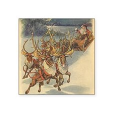 "Vintage Christmas Santa Cla Square Sticker 3"" x 3"""