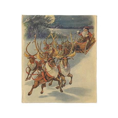 Vintage Christmas Santa Claus Throw Blanket
