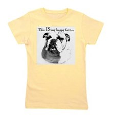 Bulldog Happy Face Girl's Tee