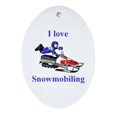 I Love Snowmobiling Oval Ornament