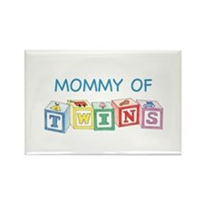 Mommy of Twins Blocks Rectangle Magnet