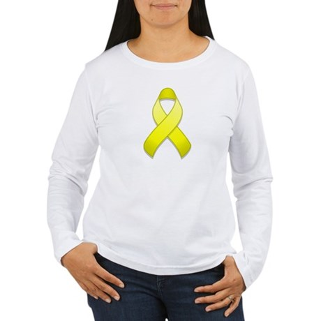 Yellow Awareness Ribbon Women's Long Sleeve T-Shir