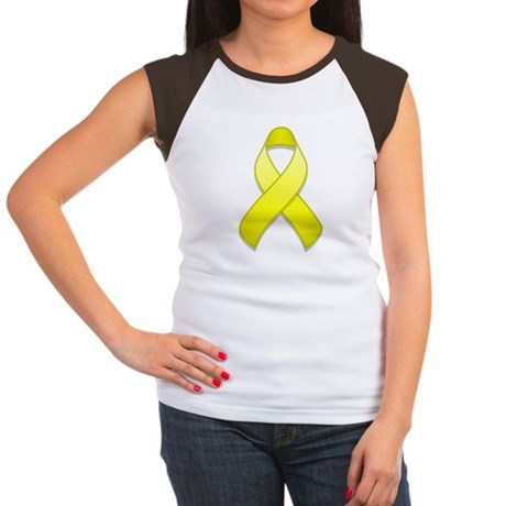 Yellow Awareness Ribbon Women's Cap Sleeve T-Shirt