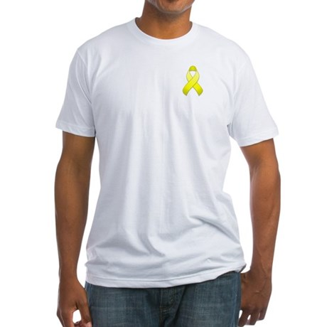Yellow Awareness Ribbon Fitted T-Shirt