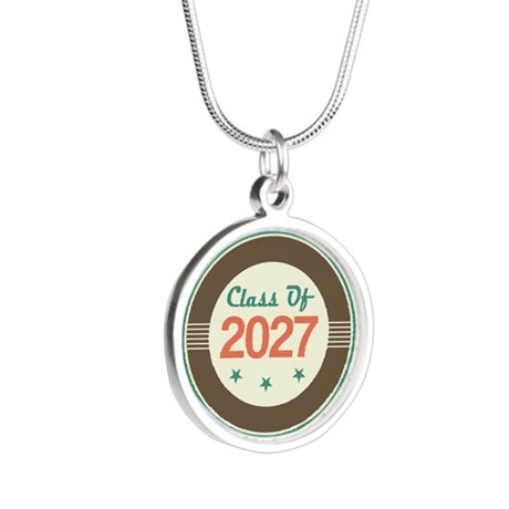 Class of 2027 Vintage Silver Round Necklace