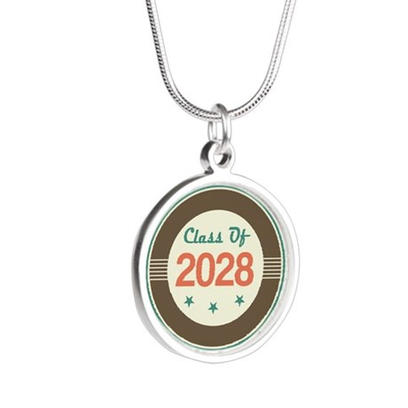 Class of 2028 Vintage Silver Round Necklace