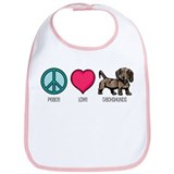 Peace Love &amp; Dachshunds Bib