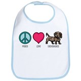 Peace Love & Dachshunds Bib