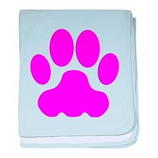 Pink Big Cat Paw Print baby blanket
