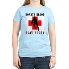 Donate Blood Play Rugby Women's Pink T-Shirt