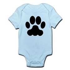 Black Big Cat Paw Print Body Suit