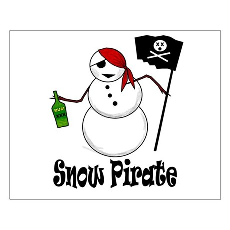 Snowman Christmas Pirate Small Poster