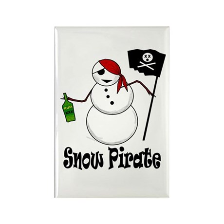 Snowman Christmas Pirate Rectangle Magnet (10 pack