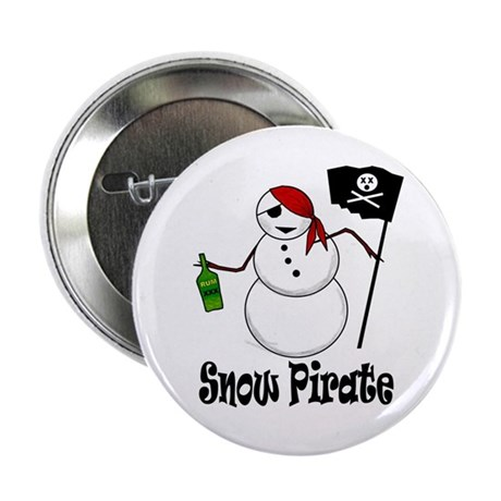 "Snowman Christmas Pirate 2.25"" Button (10 pack)"