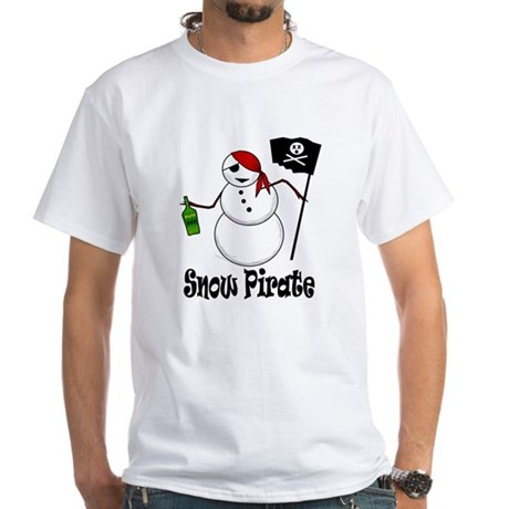 Snowman Christmas Pirate White T-Shirt