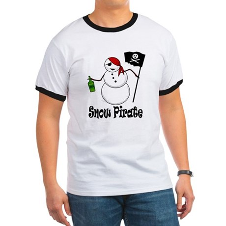 Snowman Christmas Pirate Ringer T