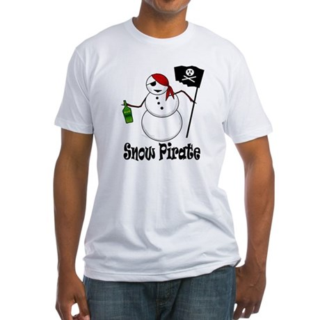 Snowman Christmas Pirate Fitted T-Shirt