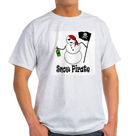Snowman Christmas Pirate Ash Grey T-Shirt