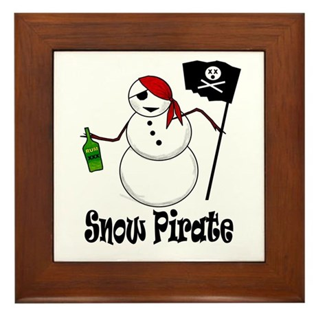 Snowman Christmas Pirate Framed Tile