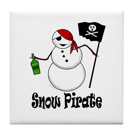 Snowman Christmas Pirate Tile Coaster