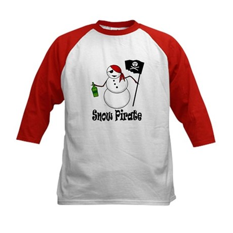 Snowman Christmas Pirate Kids Baseball Jersey