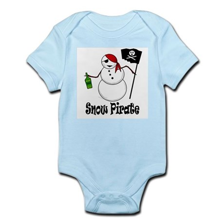 Snowman Christmas Pirate Infant Bodysuit
