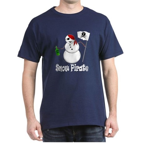 Snowman Christmas Pirate Dark T-Shirt
