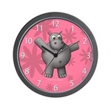 New Pink Hippo Clock