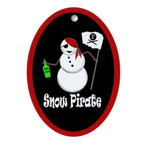 Snowman Christmas Pirate Oval Ornament