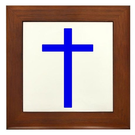 Blue Cross Framed Tile