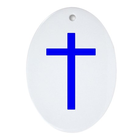 Blue Cross Oval Ornament