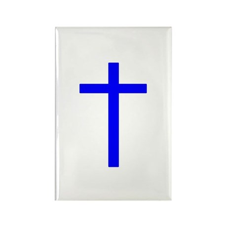 Blue Cross Rectangle Magnet