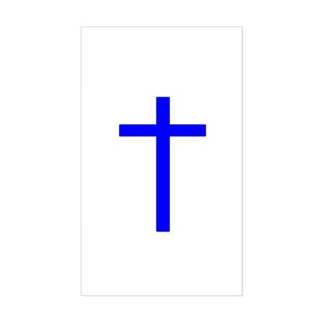 Blue Cross Rectangle Sticker