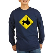 Tractor Crossing Long Sleeve Blue T-Shirt