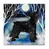 SCHNAUZER DOG WINTER Tile Coaster