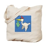 A stork carrying a baby Tote Bag
