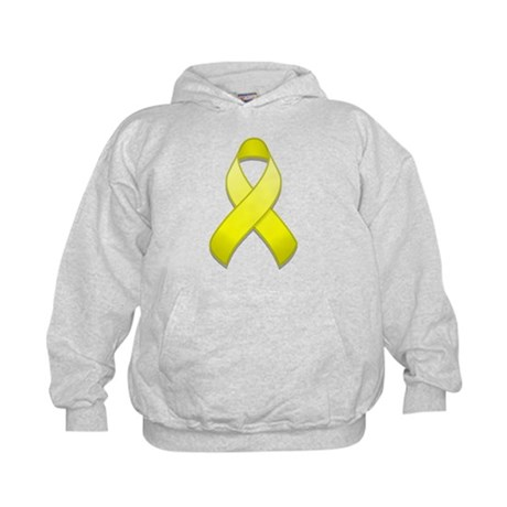 Yellow Awareness Ribbon Kids Hoodie