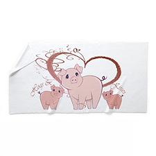 Hogs and Kisses Cute Piggies art Beach Towel