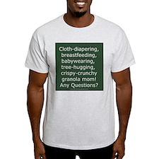 Cloth Diapering Attachment Parenting Ash Grey T-Sh