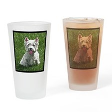 westie_painting_tilebox Drinking Glass