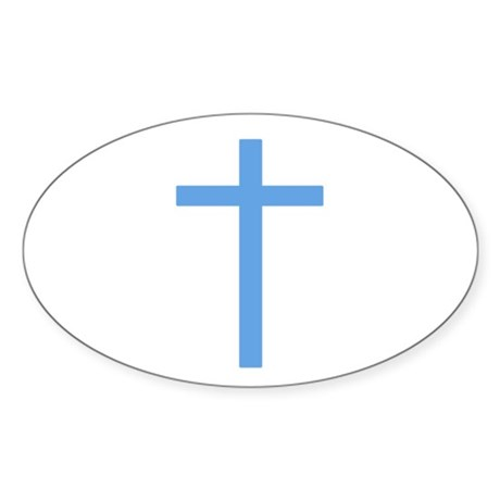 Blue Cross Oval Sticker