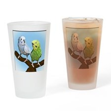 budgies_tile Drinking Glass