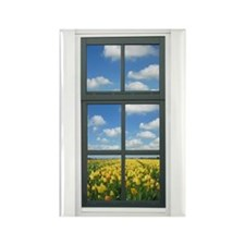Holland Spring Tulips Window View Rectangle Magnet