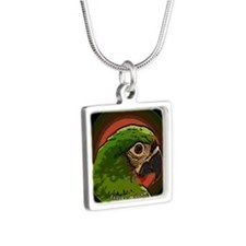 severemacaw_asian_ornament Silver Square Necklace