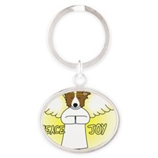 peacejoy_bordercollieredornament Oval Keychain