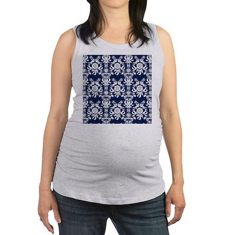 Navy Blue Damask Maternity Tank Top